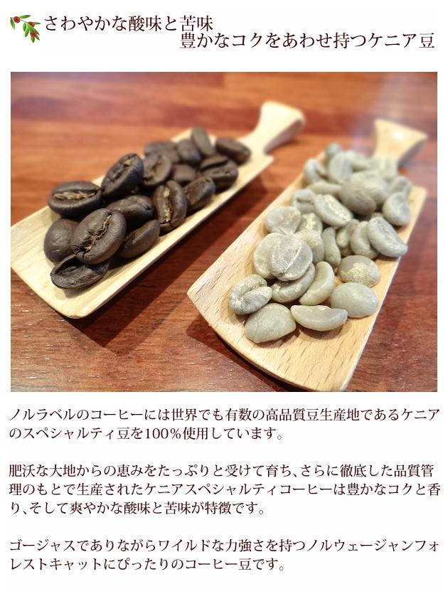 ノルラベルのコーヒーには世界でも有数の高品質豆生産地であるケニアのスペシャルティ豆を100%使用しています。 肥沃な大地からの恵みをたっぷりと受けて育ち、さらに徹底した品質管理のもとで生産されたケニアスペシャルティコーヒーは豊かなコクと香り、そして爽やかな酸味と苦味が特徴です。 ゴージャスでありながらワイルドな力強さを持つノルウェージャンフォレストキャットにぴったりのコーヒー豆です。